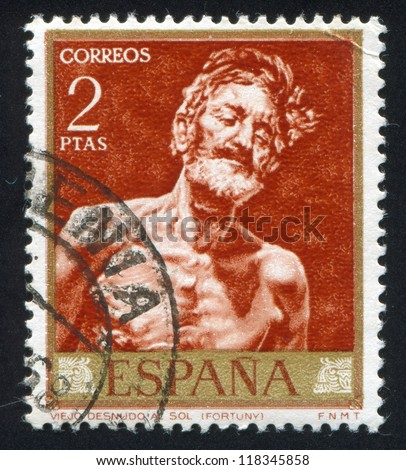 SPAIN - CIRCA 1968: stamp printed by Spain, shows painting of Old Man in the Sun, circa 1968