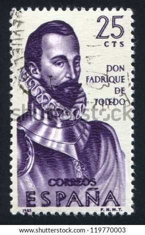 SPAIN - CIRCA 1965: stamp printed by Spain, shows Portrait of Don Fadrique de Toledo, circa 1965