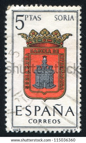 SPAIN - CIRCA 1965: stamp printed by Spain, shows Provincial Arms, Soria, circa 1965.