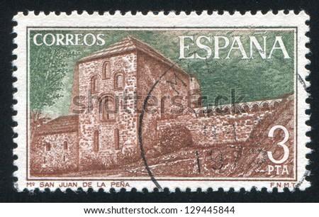 SPAIN - CIRCA 1975: stamp printed by Spain, shows San Juan de la Pena Monastery, circa 1975 - stock photo