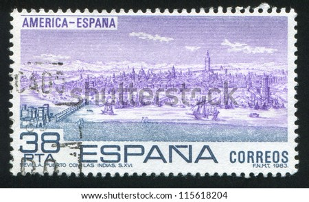 SPAIN - CIRCA 1983: stamp printed by Spain, shows View of Seville, 16th centure, circa 1983