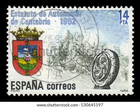 SPAIN, CIRCA 1982: stamp printed in Spain , shows coat of arms autonomy Cantabria on the background of mountains, circa 1982