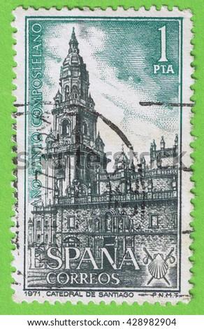 SPAIN - CIRCA 1971:  Stamp printed in the Spain, shows an illustration of the Cathedral of Santiago in Galicia. Memorial Compostela Holy Year 1971. Used postage  and postmark