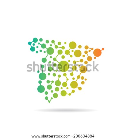 Spain dot and lines map image. Concept of networking, structure, communication - stock photo