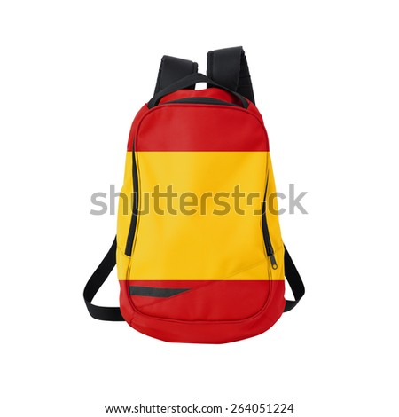 Spain flag backpack isolated on white background. Back to school concept. Education and study abroad. Travel and tourism in Spain - stock photo