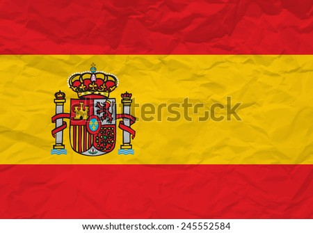Spain flag crumpled paper background. - stock photo