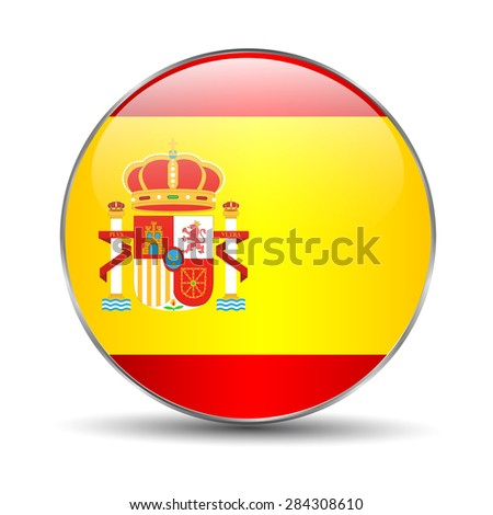 Spain Flag Glossy Button, - stock photo