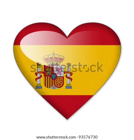 Spain flag in heart shape isolated on white background - stock photo