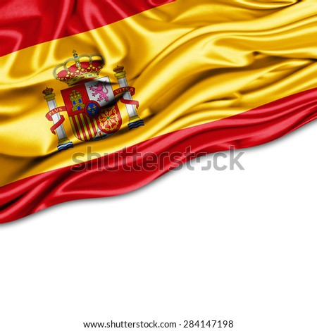 Spain  flag of silk and white background - stock photo