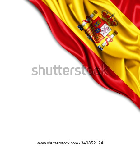 Spain  flag of silk with copyspace for your text or images and white background - stock photo