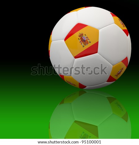 Spain flag on 3d football for Euro 2012 Group C