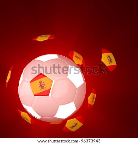 Spain flag on 3d football for Euro 2012 Group C - stock photo