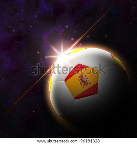 Spain flag on 3d football with rising sun illustration for Euro 2012 Group C - stock photo