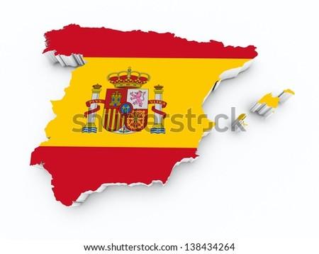 spain flag on 3d map - stock photo