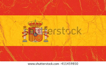 Spain flag painted on crumpled paper background - stock photo