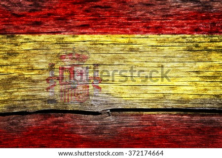 Spain flag painted on the old cracked wood with worn-out paint. Grunge look.