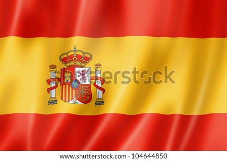 Spain flag, three dimensional render, satin texture - stock photo