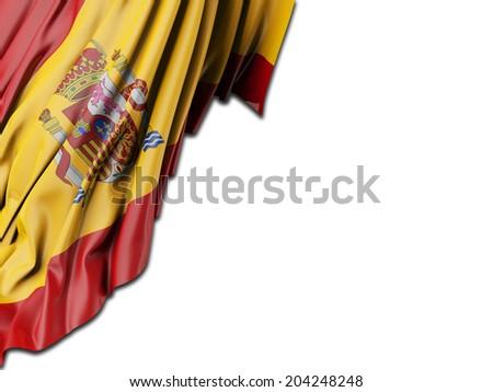 Spain Flag with white - stock photo