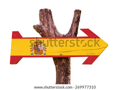 Spain Flag wooden sign isolated on white background - stock photo