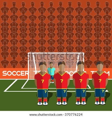 Spain Football Club Soccer Players Silhouettes. Computer game Soccer team players big set. Sports infographic. Football Teams in Flat Style. Goalkeeper Standing in a Goal. Raster illustration. - stock photo