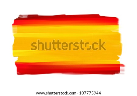 Spain hand painted national flag isolated on white - stock photo