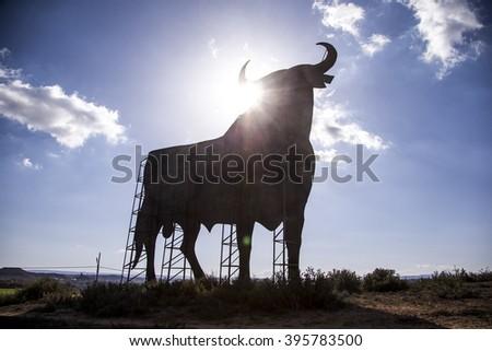 SPAIN - JANUARY 2016 : Spanish bull sign icon found all over Spain. JANUARY 09, 2016 - stock photo