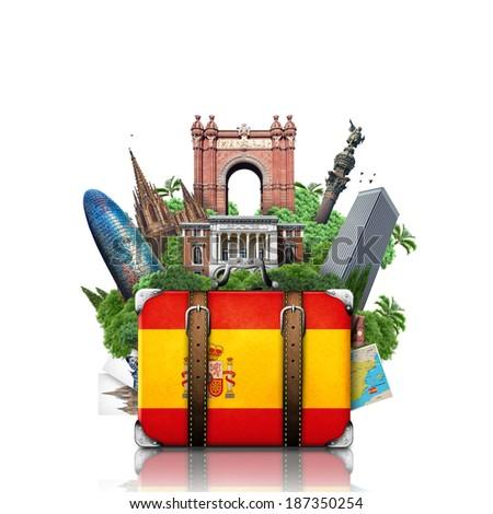 Spain, landmarks Madrid and Barcelona, travel suitcase - stock photo
