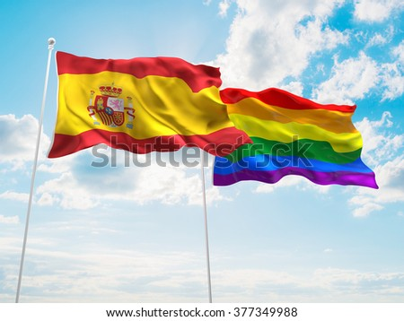 Spain & LGBT Community Pride Flags are waving in the sky