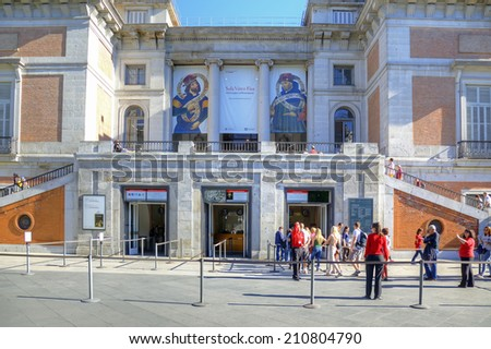 Spain, Madrid - May 02.2014: Entrance to the National Museum of the Prado, one of the largest art museums in Europe - stock photo