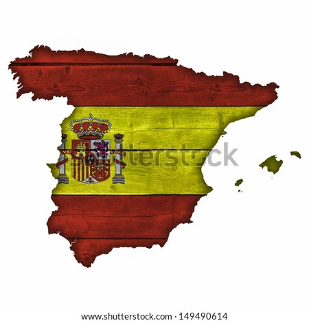 Spain Map And Flag On Wood - stock photo