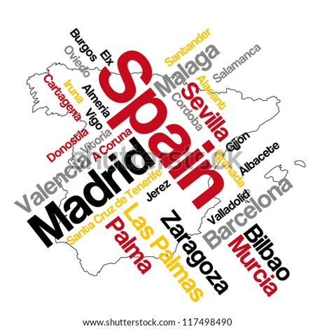 Spain map and words cloud with larger cities; vector version is also available - stock photo