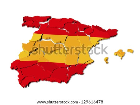 Spain map cracked, conceptual representation of national crisis - stock photo