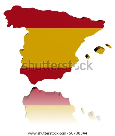 Spain map flag 3d render with reflection illustration