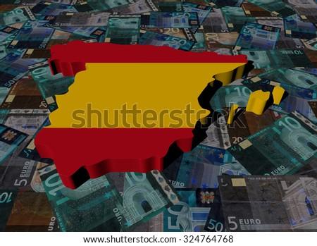 Spain Map flag on Euros illustration - stock photo