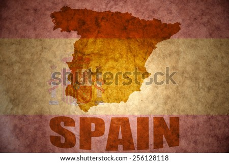 spain map on a vintage spanish flag background - stock photo