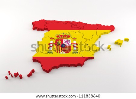 Spain map textured national flag - stock photo