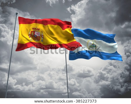 Spain & Nicaragua Flags are waving in the sky with dark clouds