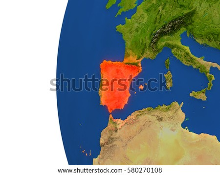 Spain on planet Earth. 3D illustration with detailed realistic planet surface. Elements of this image furnished by NASA.