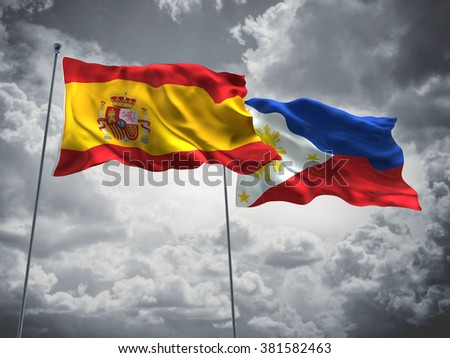 Spain & Philippines Flags are waving in the sky with dark clouds