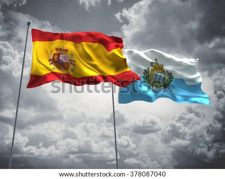 Spain & San Marino Flags are waving in the sky with dark clouds
