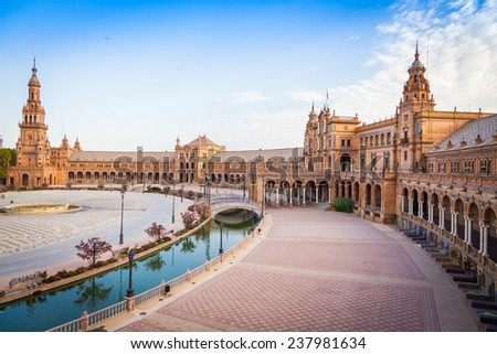 Spain, Seville. Spain Square, a landmark example of the Renaissance Revival style in Spanish architecture - stock photo