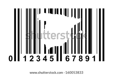 Spain shopping bar code isolated on white background.