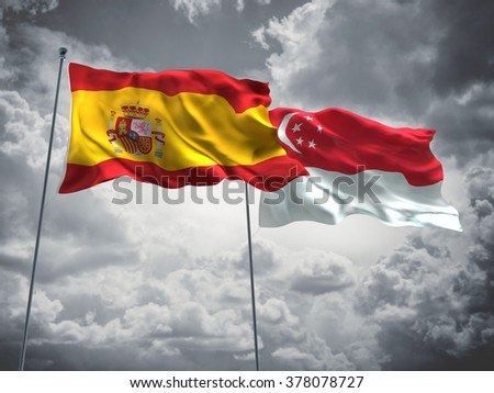 Spain & Singapore Flags are waving in the sky with dark clouds