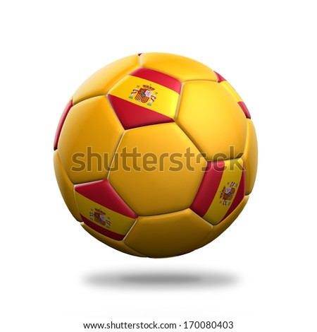 Spain soccer ball isolated white background
