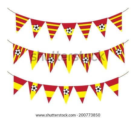 Spain soccer flag garland - stock photo