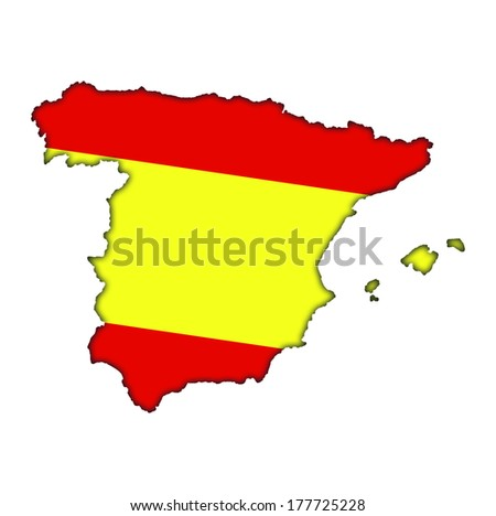 Spain Spanish flag banner map icon