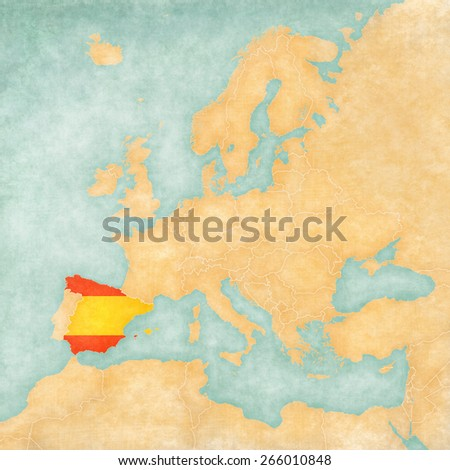 Spain (Spanish flag) on the map of Europe. The Map is in vintage summer style and sunny mood. The map has soft grunge and vintage atmosphere, which acts as watercolor painting on old paper.  - stock photo