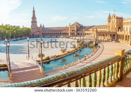 Spain Square (Plaza de Espana), Seville, Spain, built on 1928, it is one example of the Regionalism Architecture mixing Renaissance and Moorish styles. - stock photo