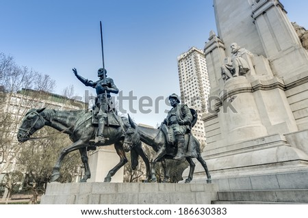 Spain Square, the popular tourist destination at the western end of the Gran Via avenue features a monument to Miguel de Cervantes Saavedra in Madrid, Spain.