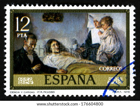 SPAIN STAMP CIRCA 1978, Show a canvas by Pablo Ruiz Picasso, at 1978, Ciencia y caridad - stock photo